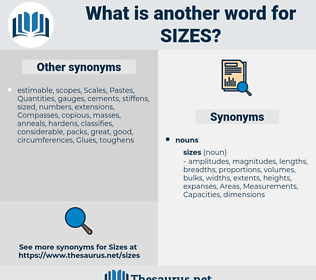 sizes, synonym sizes, another word for sizes, words like sizes, thesaurus sizes