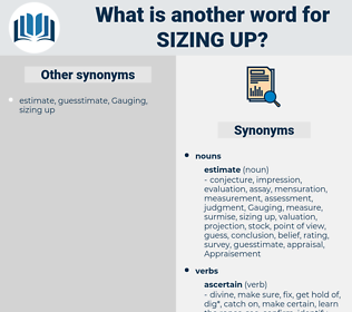 sizing up, synonym sizing up, another word for sizing up, words like sizing up, thesaurus sizing up