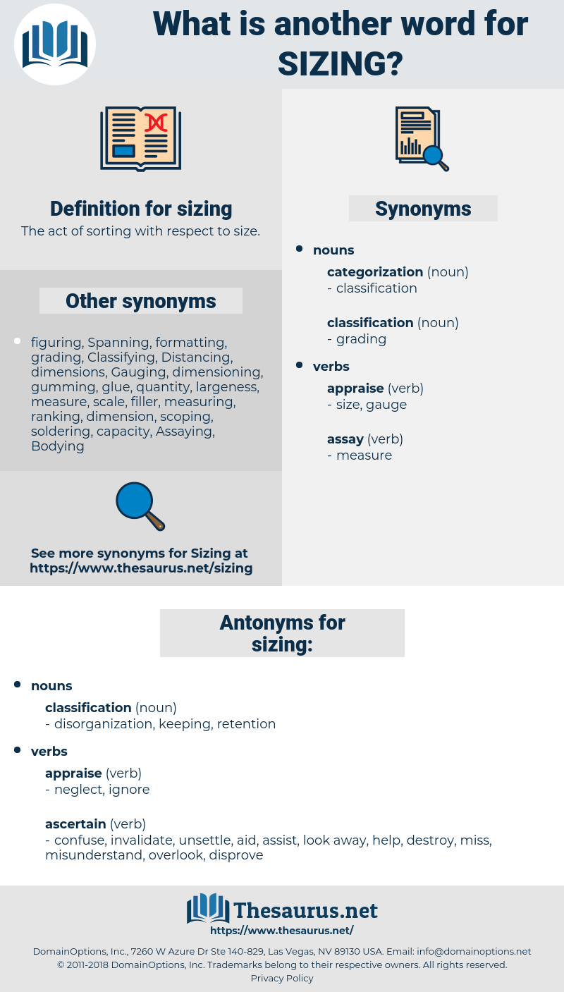 sizing, synonym sizing, another word for sizing, words like sizing, thesaurus sizing