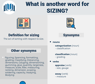 sizing, synonym sizing, another word for sizing, words like sizing, thesaurus sizing
