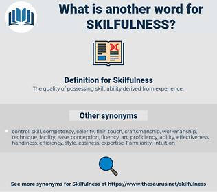 Skilfulness, synonym Skilfulness, another word for Skilfulness, words like Skilfulness, thesaurus Skilfulness