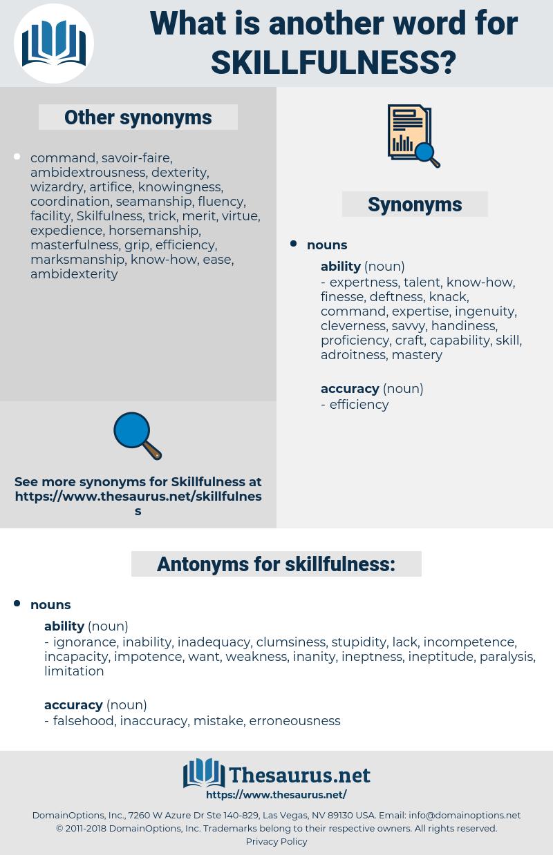 skillfulness, synonym skillfulness, another word for skillfulness, words like skillfulness, thesaurus skillfulness
