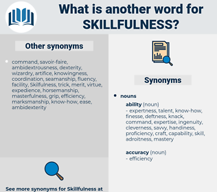 skillfulness, synonym skillfulness, another word for skillfulness, words like skillfulness, thesaurus skillfulness