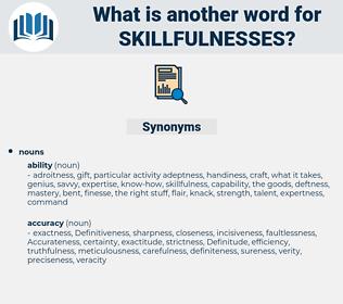 skillfulnesses, synonym skillfulnesses, another word for skillfulnesses, words like skillfulnesses, thesaurus skillfulnesses