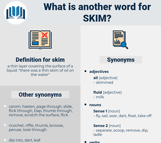 skim, synonym skim, another word for skim, words like skim, thesaurus skim