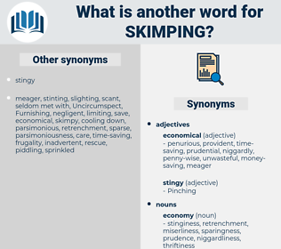 Skimping, synonym Skimping, another word for Skimping, words like Skimping, thesaurus Skimping