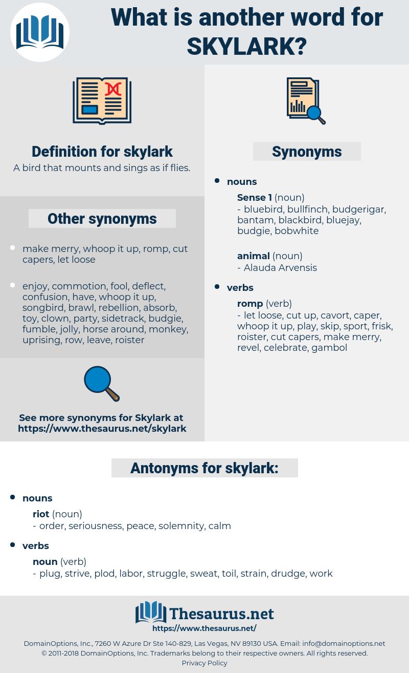 skylark, synonym skylark, another word for skylark, words like skylark, thesaurus skylark