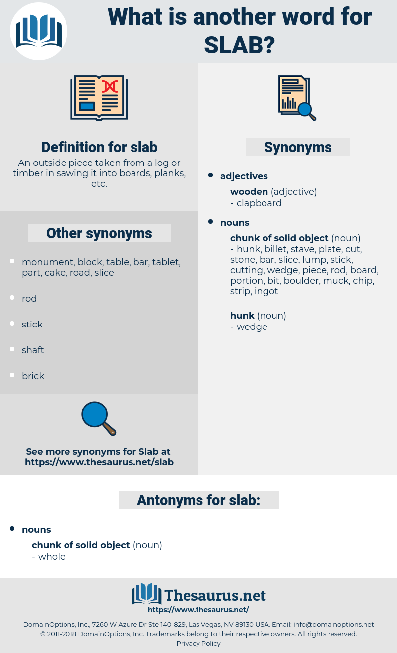 slab, synonym slab, another word for slab, words like slab, thesaurus slab