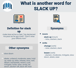 slack up, synonym slack up, another word for slack up, words like slack up, thesaurus slack up