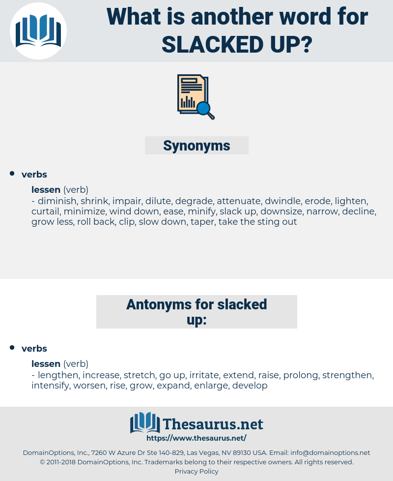 slacked up, synonym slacked up, another word for slacked up, words like slacked up, thesaurus slacked up