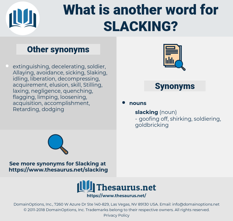 slacking, synonym slacking, another word for slacking, words like slacking, thesaurus slacking
