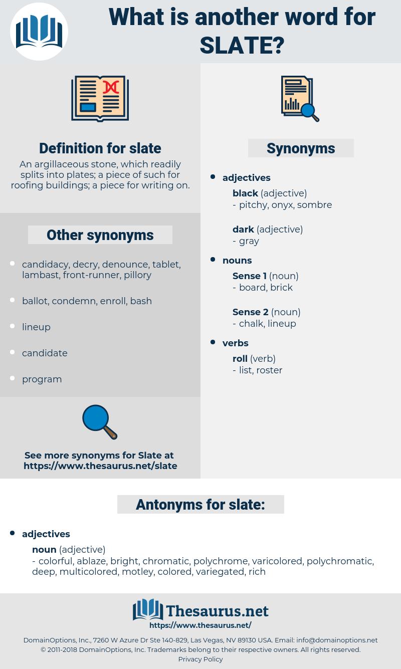 slate, synonym slate, another word for slate, words like slate, thesaurus slate