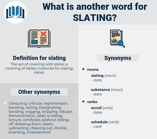 slating, synonym slating, another word for slating, words like slating, thesaurus slating
