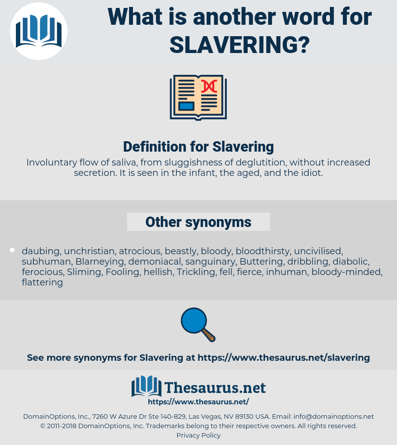 Slavering, synonym Slavering, another word for Slavering, words like Slavering, thesaurus Slavering