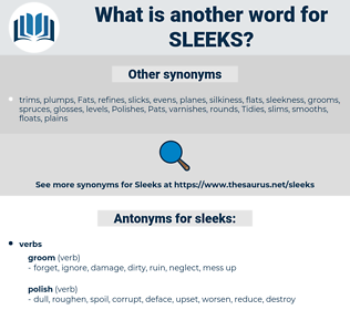 sleeks, synonym sleeks, another word for sleeks, words like sleeks, thesaurus sleeks