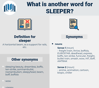 sleeper, synonym sleeper, another word for sleeper, words like sleeper, thesaurus sleeper