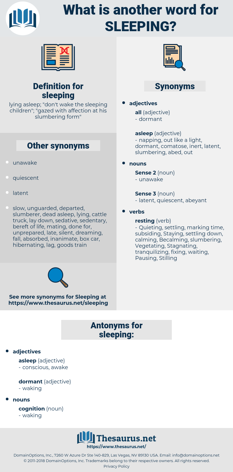 sleeping, synonym sleeping, another word for sleeping, words like sleeping, thesaurus sleeping