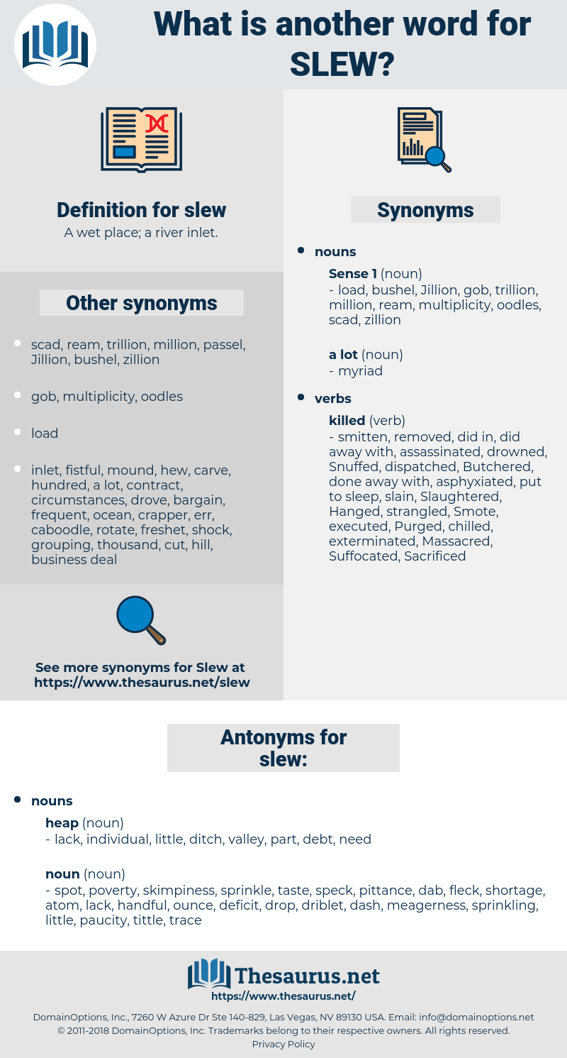 slew, synonym slew, another word for slew, words like slew, thesaurus slew