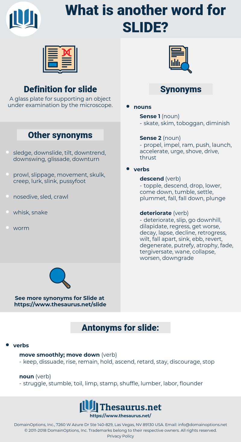 slide, synonym slide, another word for slide, words like slide, thesaurus slide