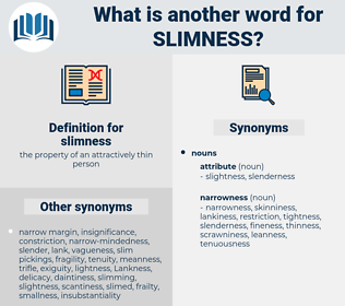 slimness, synonym slimness, another word for slimness, words like slimness, thesaurus slimness