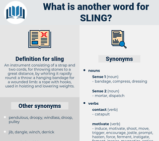 sling, synonym sling, another word for sling, words like sling, thesaurus sling