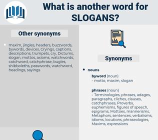 slogans, synonym slogans, another word for slogans, words like slogans, thesaurus slogans