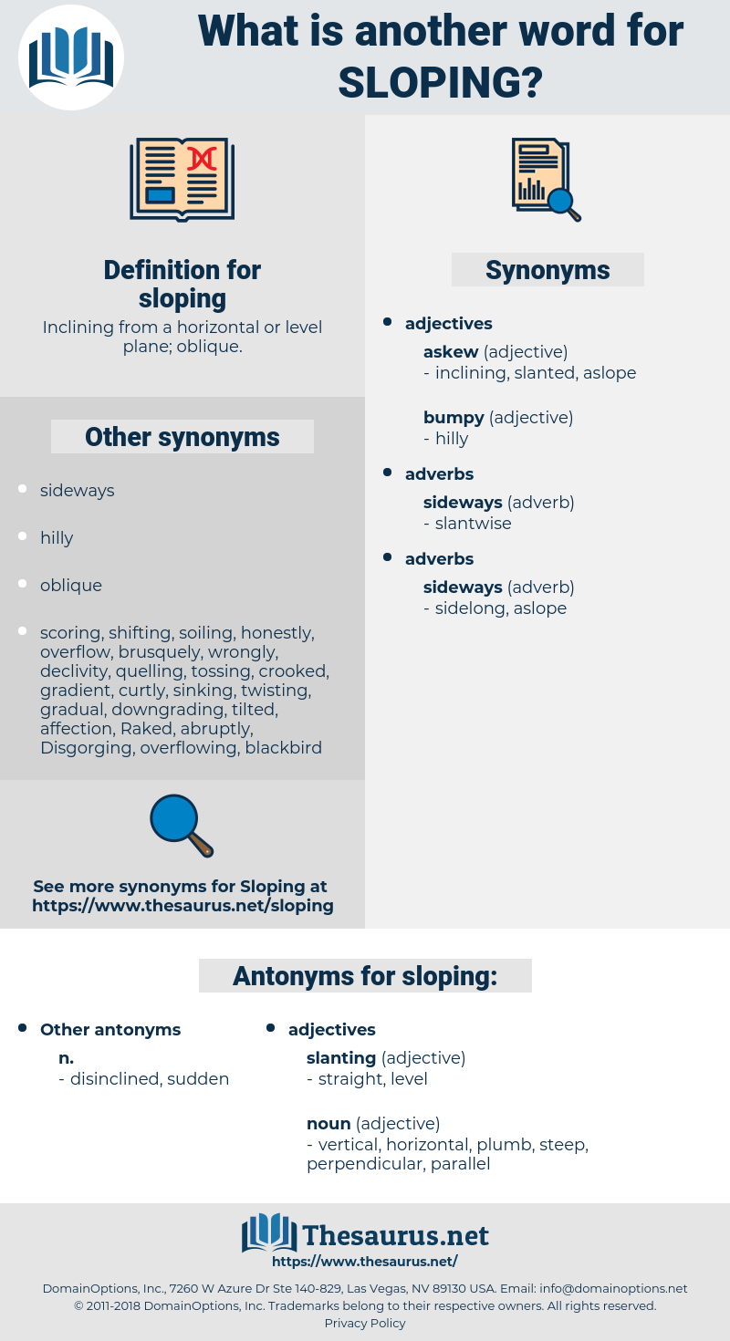 sloping, synonym sloping, another word for sloping, words like sloping, thesaurus sloping