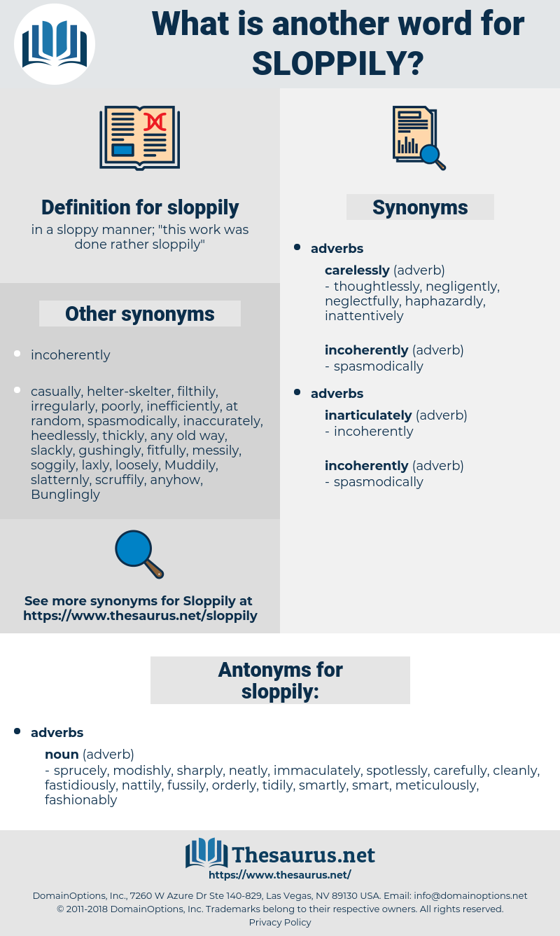 sloppily, synonym sloppily, another word for sloppily, words like sloppily, thesaurus sloppily