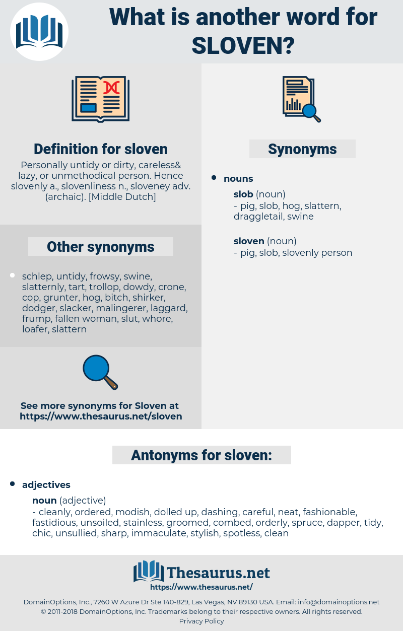 sloven, synonym sloven, another word for sloven, words like sloven, thesaurus sloven