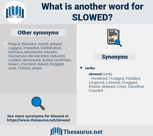Slowed, synonym Slowed, another word for Slowed, words like Slowed, thesaurus Slowed