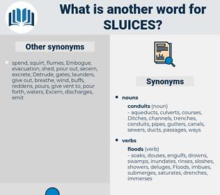sluices, synonym sluices, another word for sluices, words like sluices, thesaurus sluices