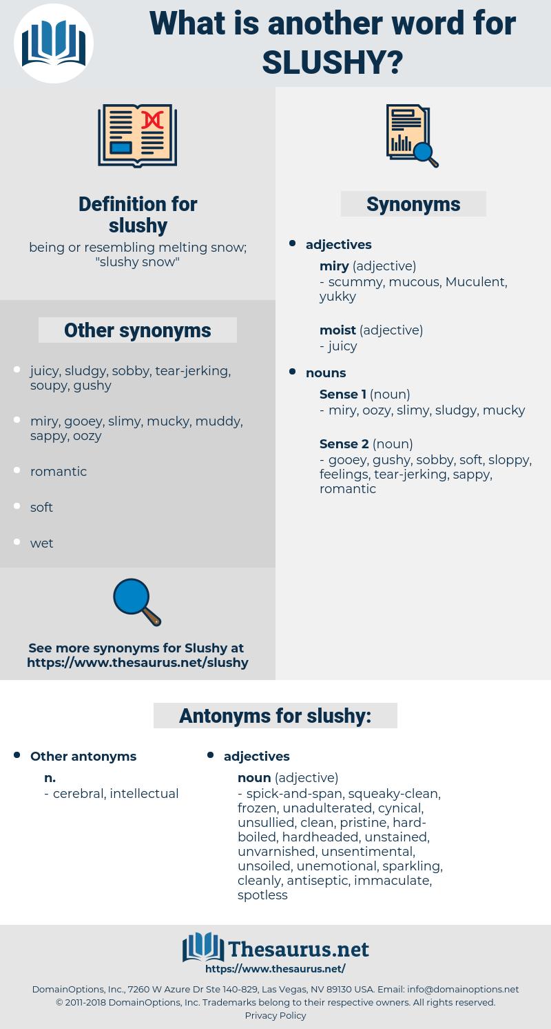 slushy, synonym slushy, another word for slushy, words like slushy, thesaurus slushy
