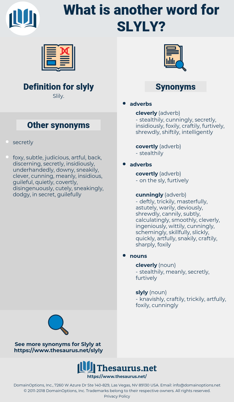 slyly, synonym slyly, another word for slyly, words like slyly, thesaurus slyly
