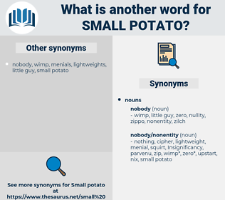 small potato, synonym small potato, another word for small potato, words like small potato, thesaurus small potato