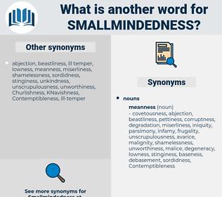 smallmindedness, synonym smallmindedness, another word for smallmindedness, words like smallmindedness, thesaurus smallmindedness