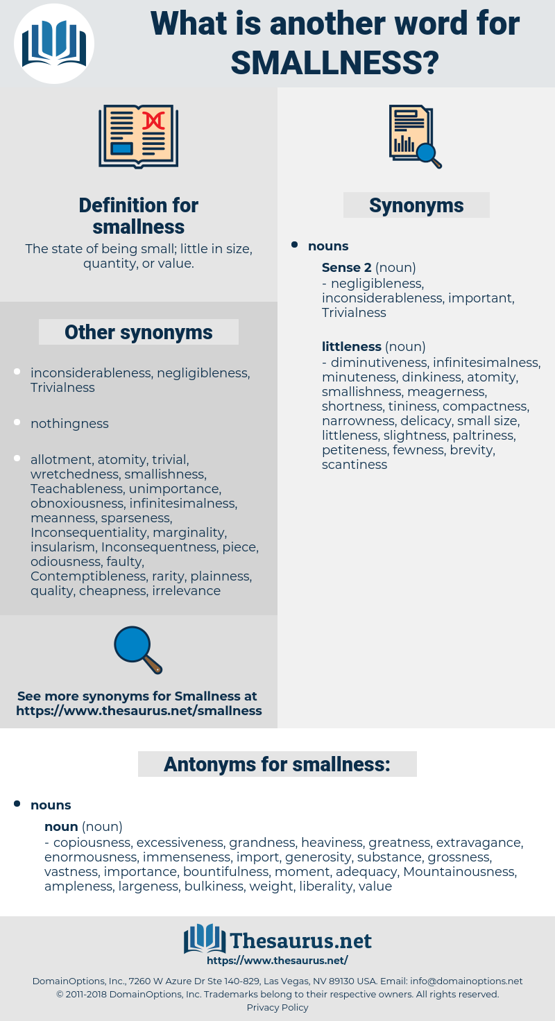 smallness, synonym smallness, another word for smallness, words like smallness, thesaurus smallness