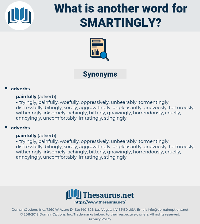 smartingly, synonym smartingly, another word for smartingly, words like smartingly, thesaurus smartingly