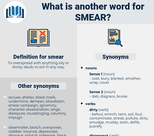 smear, synonym smear, another word for smear, words like smear, thesaurus smear
