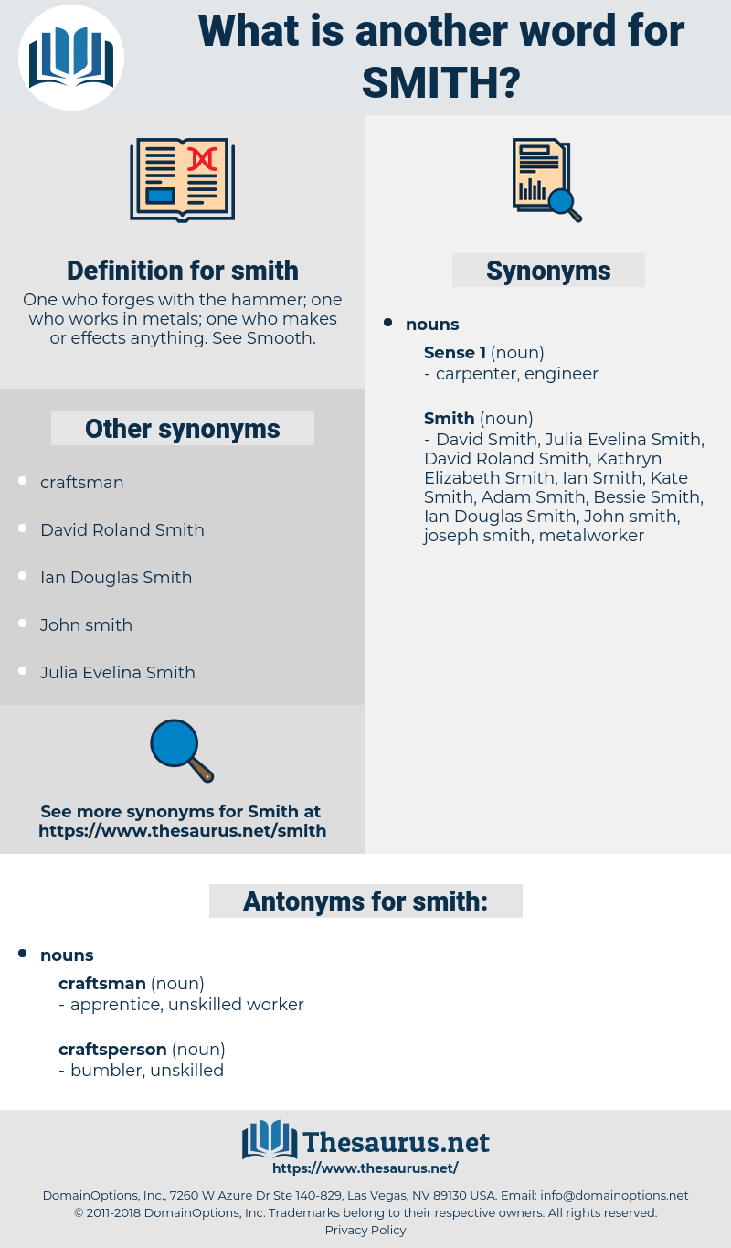 smith, synonym smith, another word for smith, words like smith, thesaurus smith