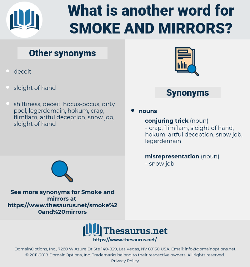 smoke and mirrors, synonym smoke and mirrors, another word for smoke and mirrors, words like smoke and mirrors, thesaurus smoke and mirrors