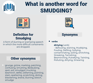 Smudging, synonym Smudging, another word for Smudging, words like Smudging, thesaurus Smudging