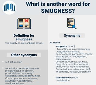 smugness, synonym smugness, another word for smugness, words like smugness, thesaurus smugness