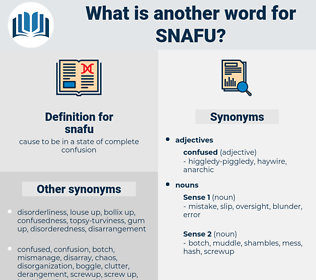snafu, synonym snafu, another word for snafu, words like snafu, thesaurus snafu