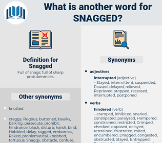 Snagged, synonym Snagged, another word for Snagged, words like Snagged, thesaurus Snagged