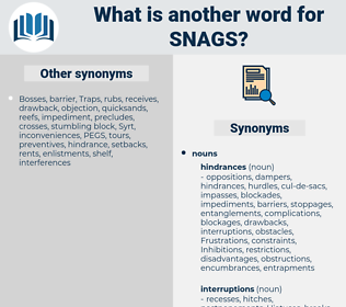 snags, synonym snags, another word for snags, words like snags, thesaurus snags