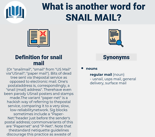 snail mail, synonym snail mail, another word for snail mail, words like snail mail, thesaurus snail mail