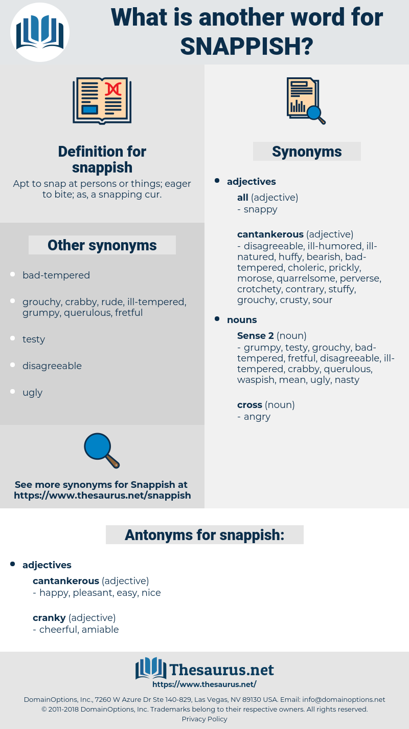 snappish, synonym snappish, another word for snappish, words like snappish, thesaurus snappish