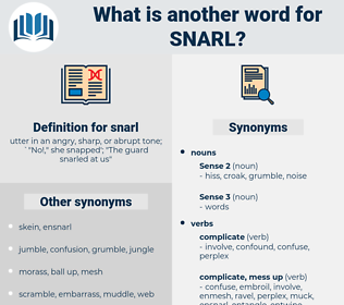 snarl, synonym snarl, another word for snarl, words like snarl, thesaurus snarl