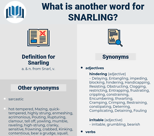 Snarling, synonym Snarling, another word for Snarling, words like Snarling, thesaurus Snarling
