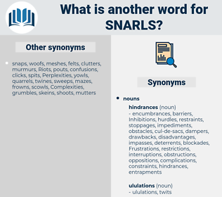 snarls, synonym snarls, another word for snarls, words like snarls, thesaurus snarls